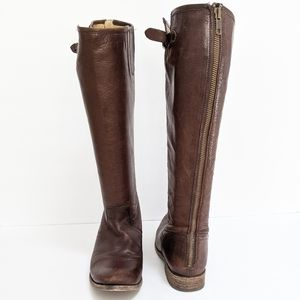 Frye Pippa Brown Leather Back Zip Buckle Boots 8